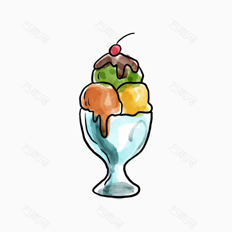 手绘三色冰淇淋