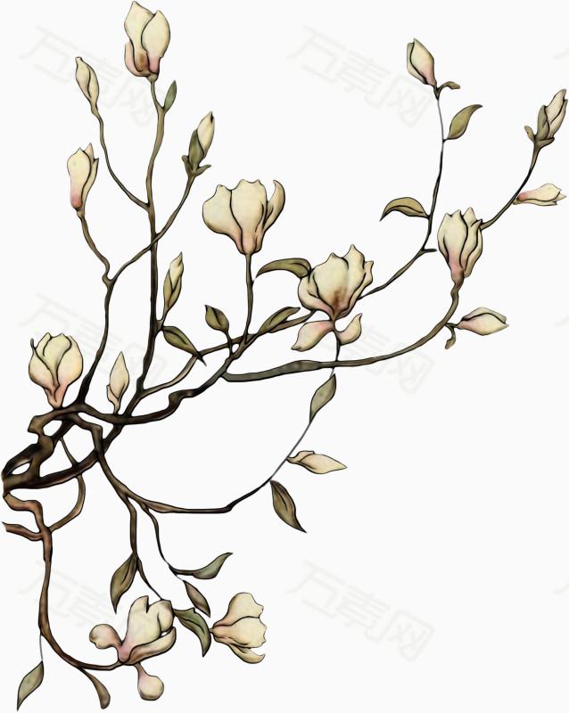 手绘中国风花朵