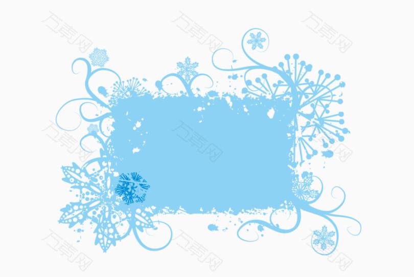蓝色喷墨边框