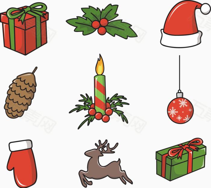 万素网提供矢量手绘卡通圣诞节图案png设计素材,背景图片