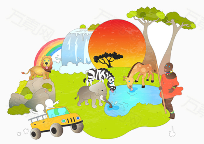 手绘动物园插画