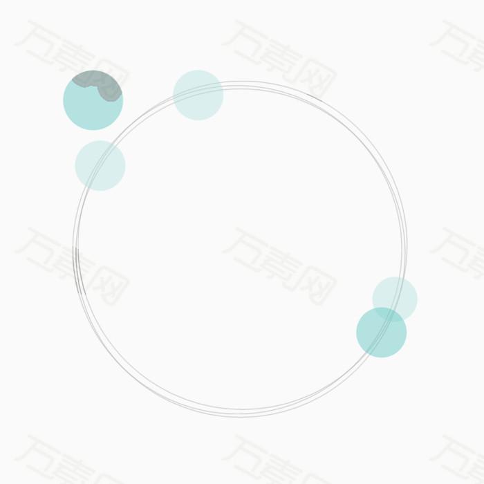 淡蓝色圆点圆环免抠素材