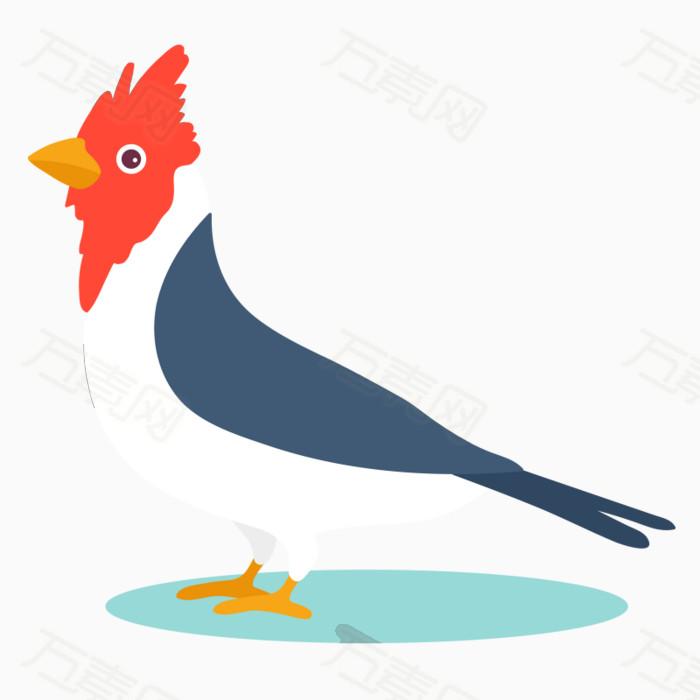 手绘  小鸟 白肚皮 蓝色羽毛   简笔画 简单画  儿童画小鸟  彩色