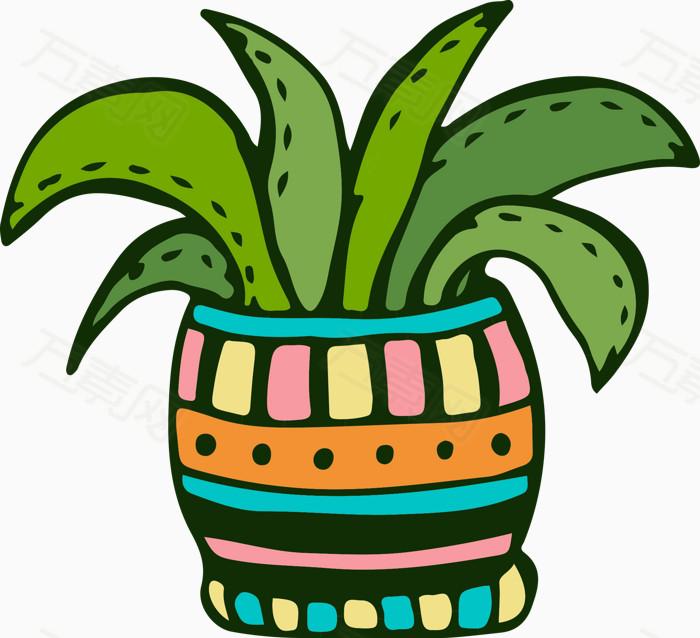 卡通盆栽 绿色植物 卡通花艺 卡通芦荟  绿叶 植物元素图片