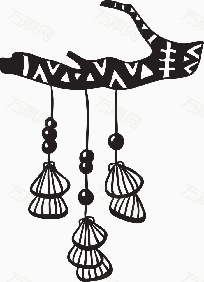 万素网 素材分类 黑色线条贝壳风铃  万素网提供黑色线条贝壳风铃png