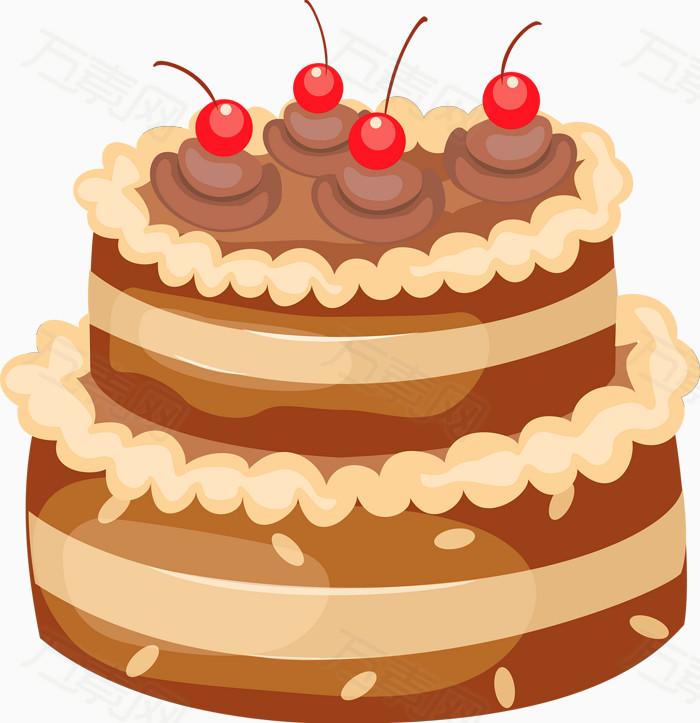 两层巧克力蛋糕卡通手绘装饰元素图标元素图片