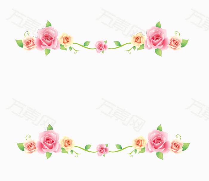 清新玫瑰花分割线边框