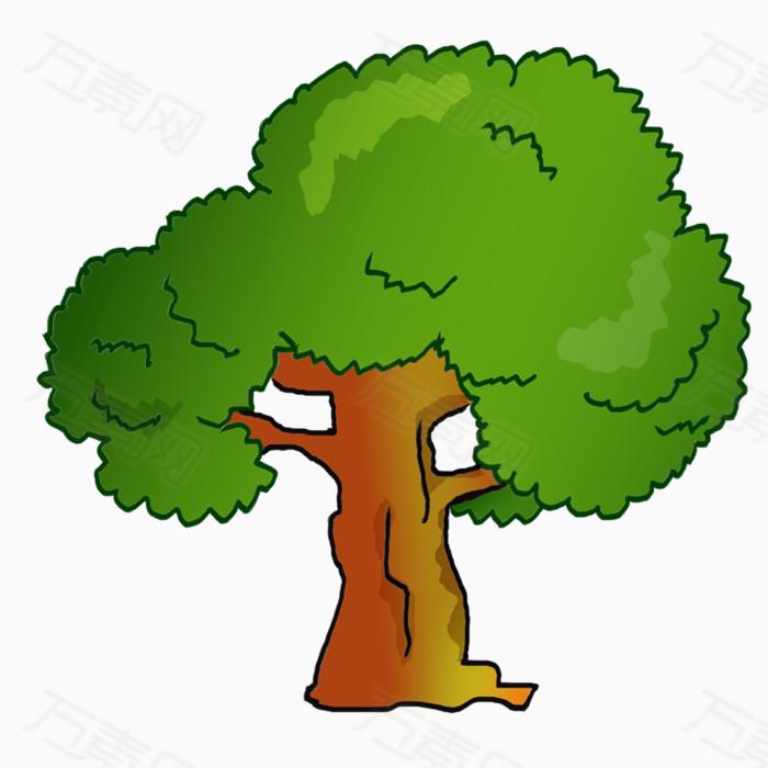 树木 大树 植物 绿色 卡通 手绘 png 元素