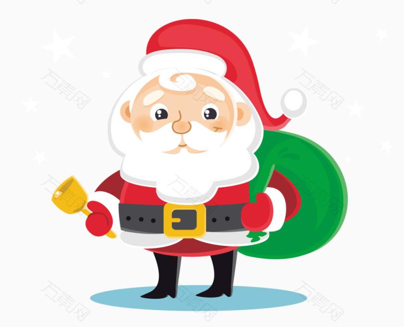 摇铃铛的圣诞老人矢量图