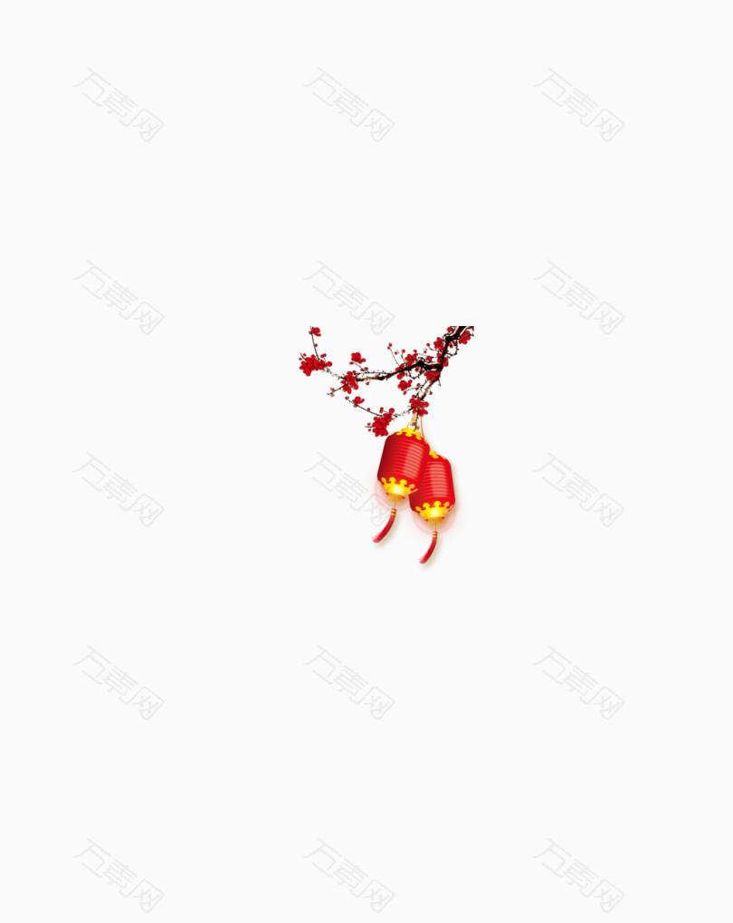 红色梅花灯笼配景图案