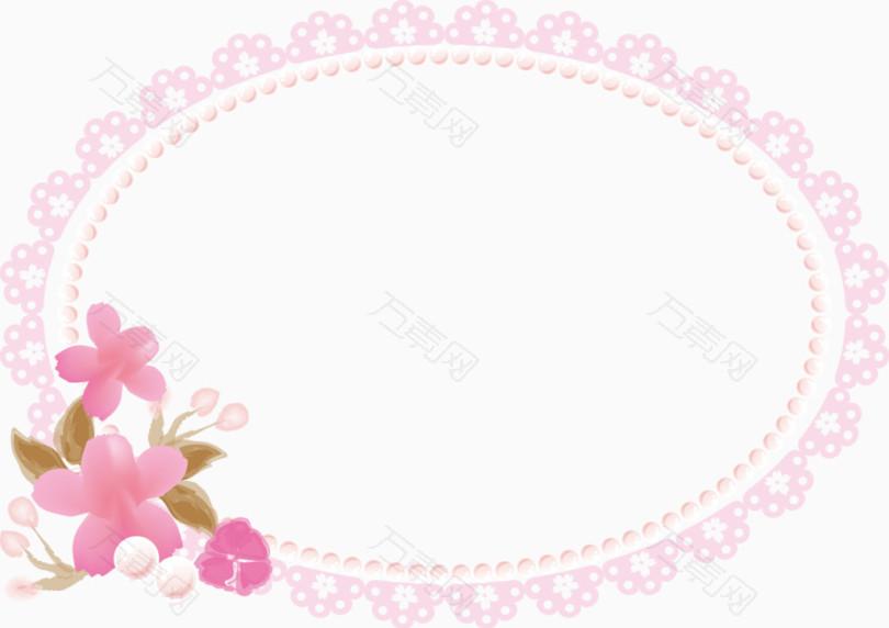 手绘椭圆形边框粉色小花装饰相框