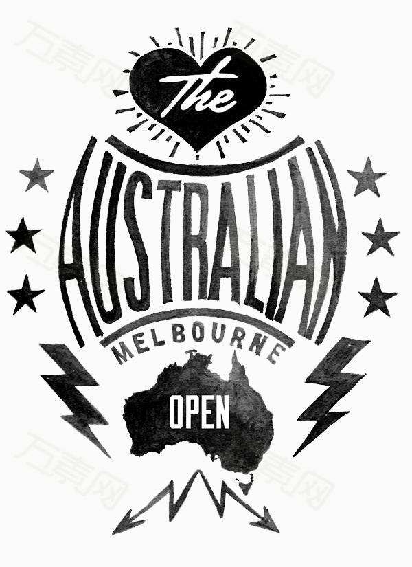 黑色手绘图标澳大利亚