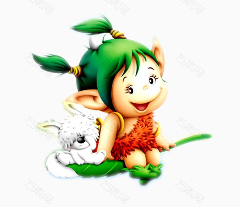 坐着树叶带着宠物的卡通森林小野人图片