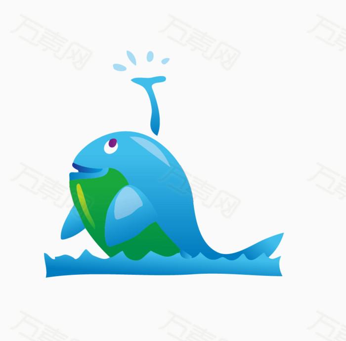 卡通手绘喷水鲸鱼