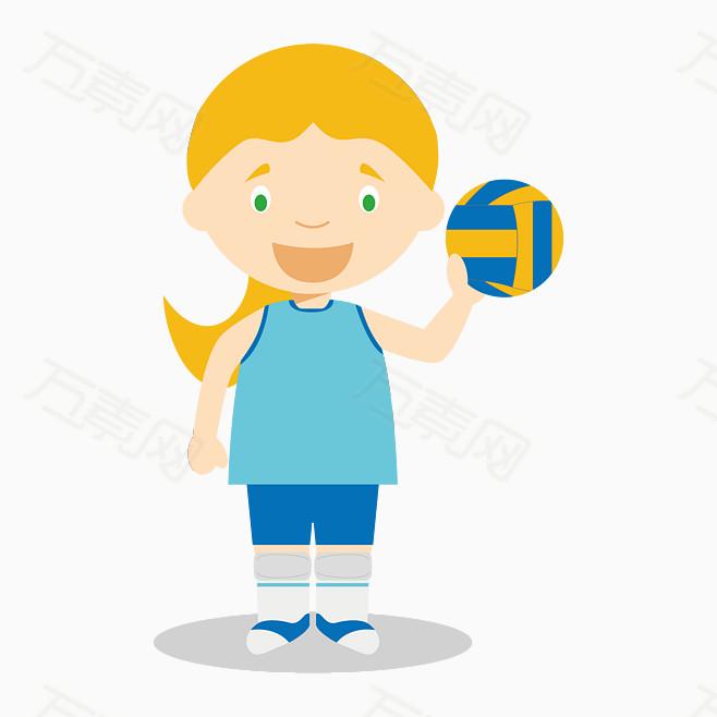 卡通手绘运动员小人排球