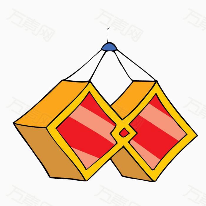 方形 灯笼 节日 卡通 手绘 装饰 png 元素 创意