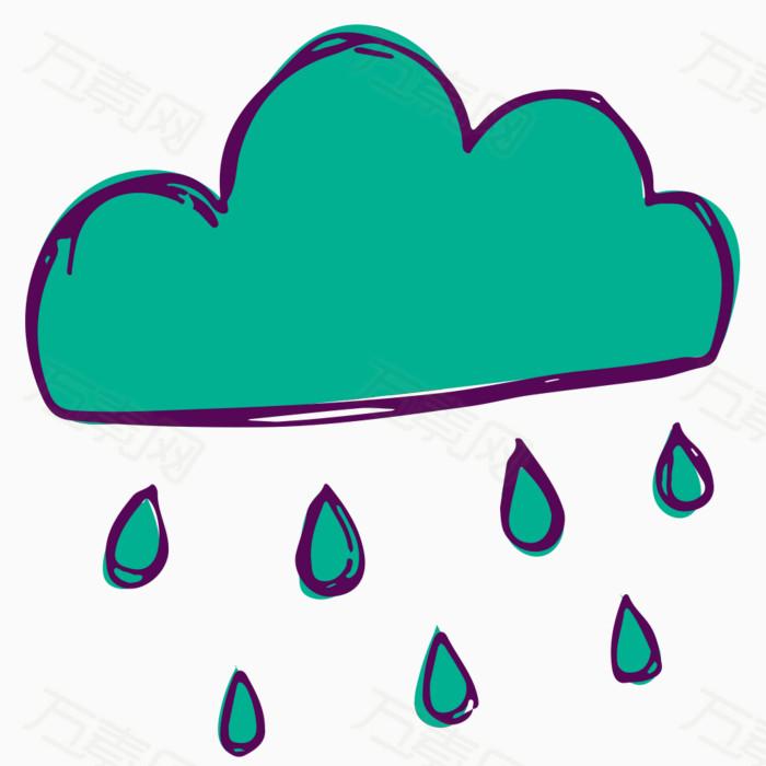 乌云下雨卡通素材