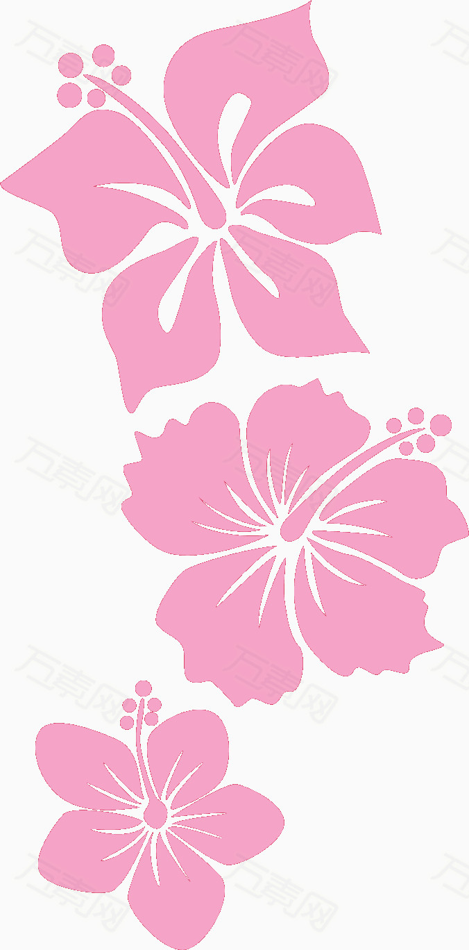 粉色手绘线条花朵图片免费下载_花卉植物_万素网