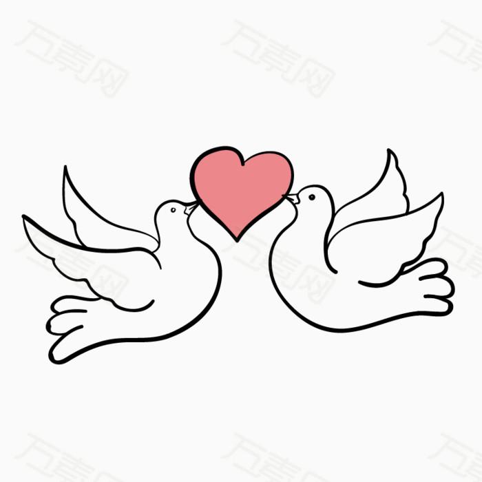 卡通手绘鸽子爱心