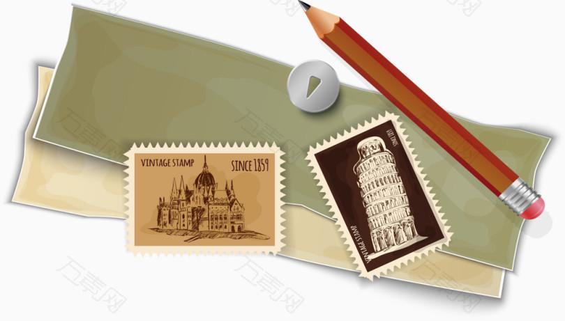 欧式复古信封邮票