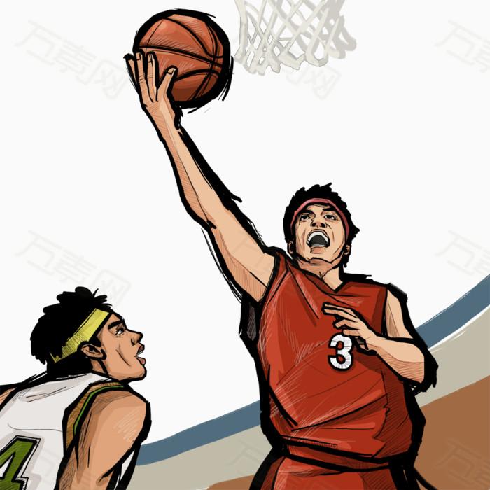 篮球 灌篮 卡通 插画 水彩画 手绘图片