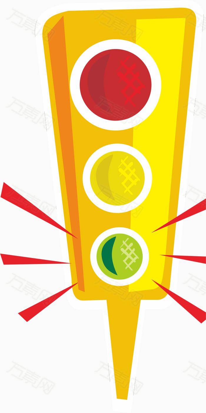 卡通手绘 交通指示灯 红绿灯 绿灯亮 过马路