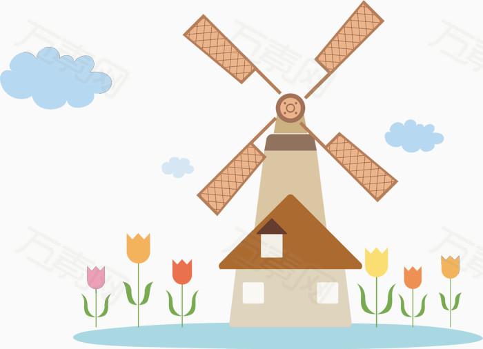 手绘插画 小清新风 风车 郁金香 花朵 荷兰