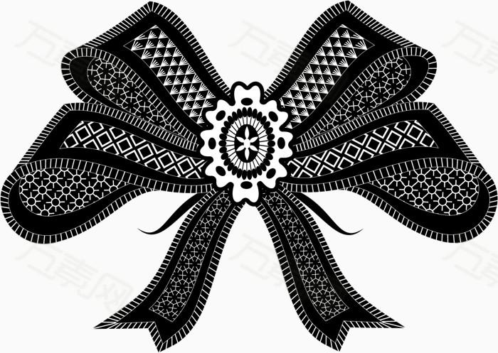 矢量手绘黑白蝴蝶结