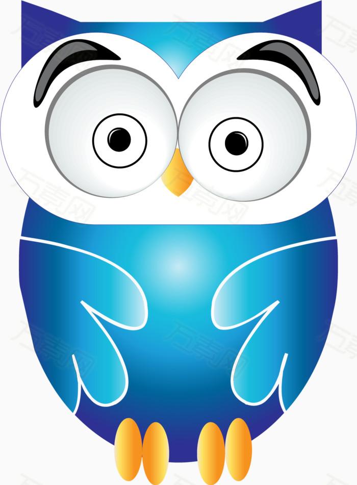 大眼睛  猫头鹰 小动物 卡通 手绘 可爱 蓝色