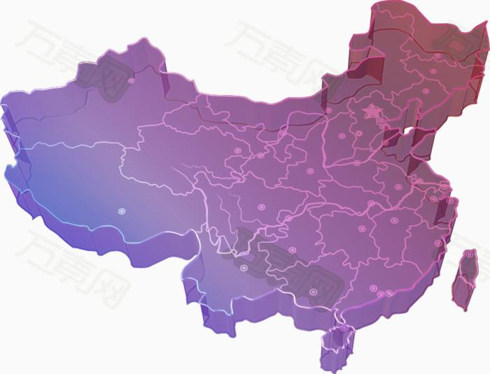 紫色简约中国地图装饰图案