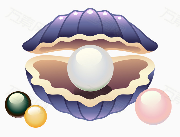 手绘插画 大珍珠 贝壳 贝壳吐珍珠 水生物
