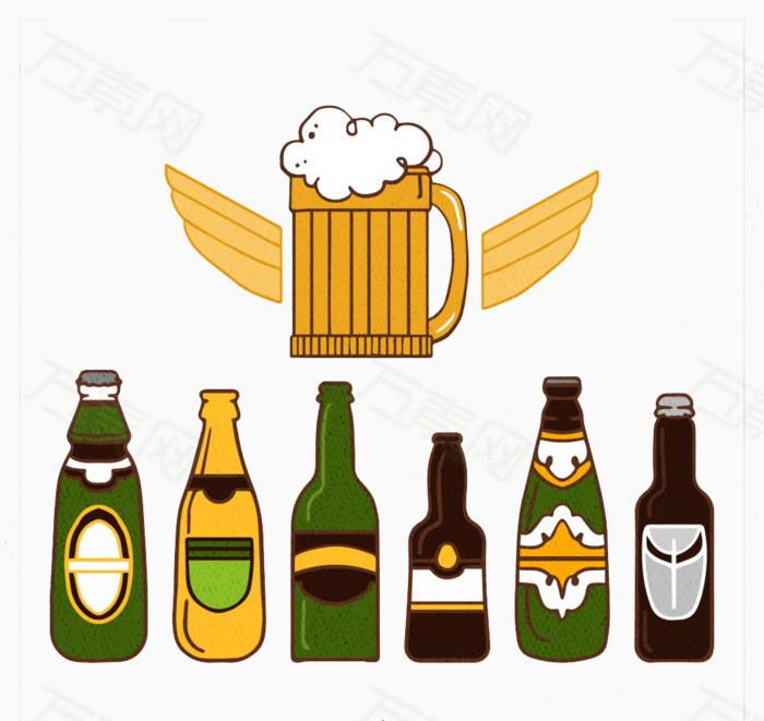 啤酒瓶图片免费下载_卡通手绘_万素网