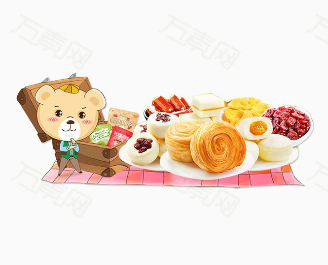 卡通手绘小熊野餐