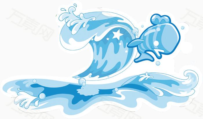 浪花  海浪 海水 水花 蓝色  卡通 手绘 鱼儿