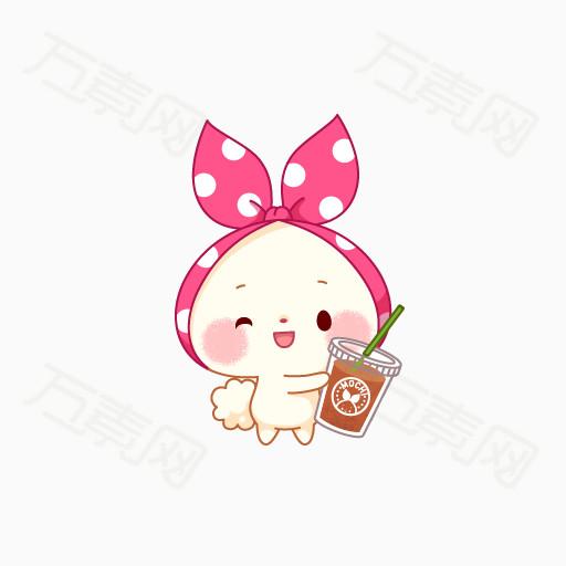 粉色蝴蝶结头戴小兔子 可爱小兔子 小爱心 萌萌的小兔子 卡通动物