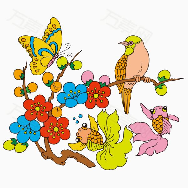 手绘卡通小鸟