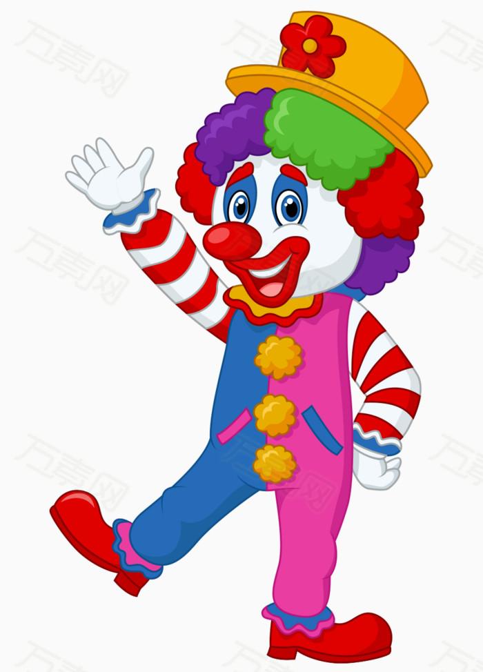 卡通手绘彩色缤纷马戏团小丑