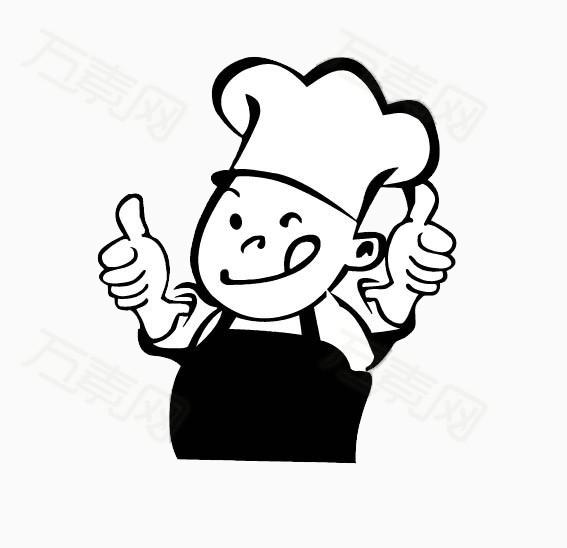 手绘黑白小人厨师
