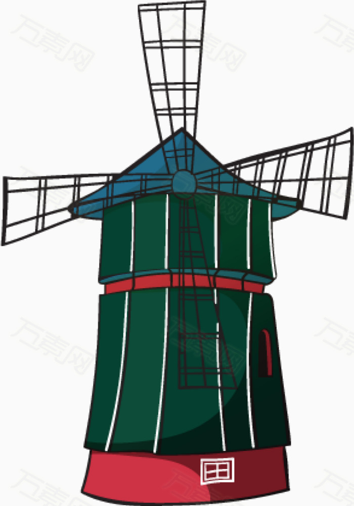 荷兰风车图片免费下载_卡通手绘_万素网