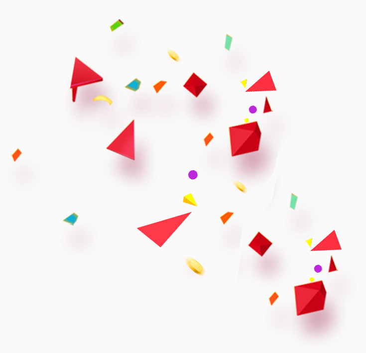 立体菱形三角形金币节日漂浮元素装饰效果