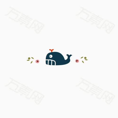 深蓝色小海豚 卡通 手绘小花 栏目装饰条 可爱