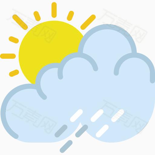 太阳,乌云,天气,简笔画,粗线条,图案,彩色,图标,学画画,儿童,卡通