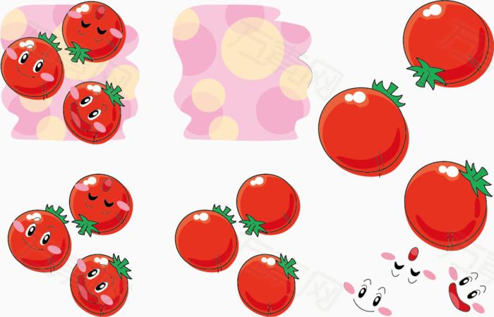 矢量三个西红柿表情