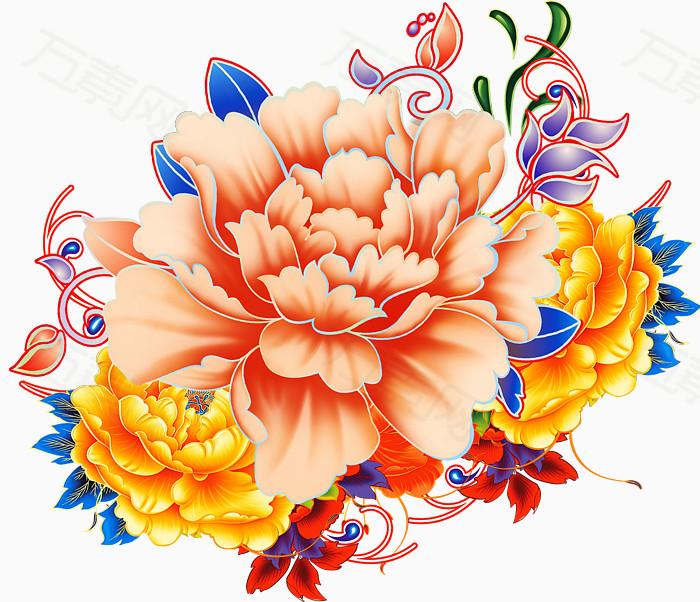 喜庆富贵手绘牡丹花