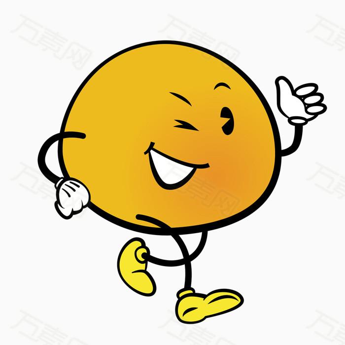 开心 走路 橙子 水果 拟人化 可爱 卡通