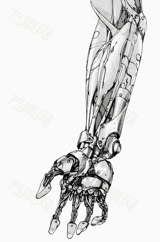手绘机械手臂图片免费下载_卡通手绘_万素网