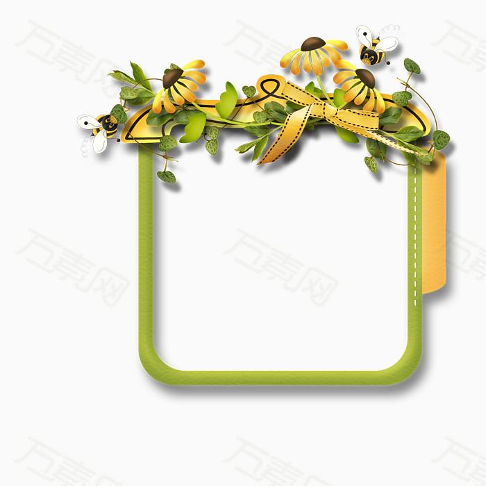 万素网 素材分类 素雅简单绿色边框  1876