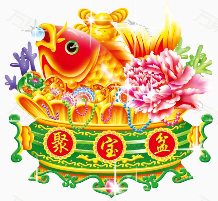 黄色聚宝盆图片免费下载_卡通手绘_万素网图片
