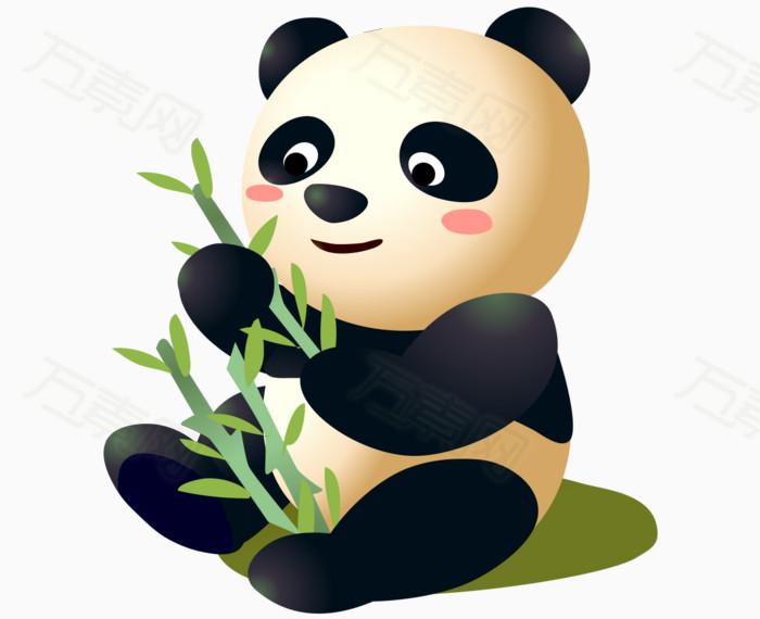 矢量卡通可爱彩色小熊猫竹子图片