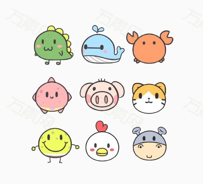 卡通圆形动物图标图片免费下载_图标元素_万素网